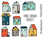 decorative colorful houses...   Shutterstock .eps vector #755214052