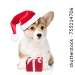 Stock photo pembroke welsh corgi puppy with red christmas hat and gift box isolated on white background 755214706