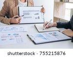 business team meeting present ... | Shutterstock . vector #755215876