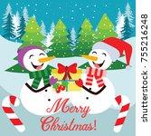 merry christmas holiday season... | Shutterstock .eps vector #755216248