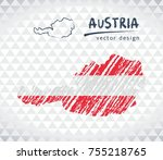 austria vector map with flag... | Shutterstock .eps vector #755218765