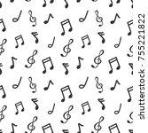 seamless pattern music note... | Shutterstock .eps vector #755221822