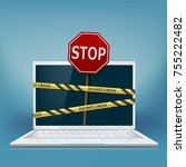 cybercrime. laptop screen with... | Shutterstock .eps vector #755222482