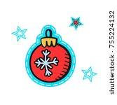 christmas illustration hand...   Shutterstock .eps vector #755224132