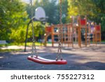 modern equipped kids playground ... | Shutterstock . vector #755227312
