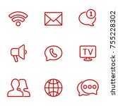 linear communication icons set. ... | Shutterstock .eps vector #755228302