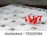 thumbtack in calendar concept... | Shutterstock . vector #755229286