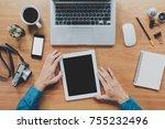 businessman hand using tablet... | Shutterstock . vector #755232496