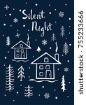 silent night xmas merry... | Shutterstock .eps vector #755233666