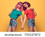 two girls hipster friends crazy ... | Shutterstock . vector #755237872