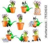 gardening background. set of... | Shutterstock . vector #75524032