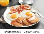 tasty breakfast with pancakes ... | Shutterstock . vector #755243848