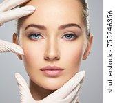 face skin check before plastic... | Shutterstock . vector #755246356