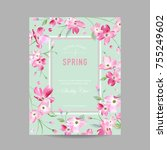 blooming spring and summer... | Shutterstock .eps vector #755249602