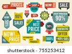 hot price  shop now  fantastic... | Shutterstock .eps vector #755253412