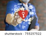 doctor holding red heart with... | Shutterstock . vector #755257522