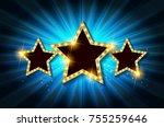 retro light sign. three gold... | Shutterstock .eps vector #755259646