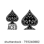 swirls and classic black spade... | Shutterstock .eps vector #755260882