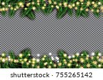 fir branch with neon lights and ... | Shutterstock .eps vector #755265142