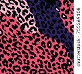 print animals leopard pattern... | Shutterstock .eps vector #755269108