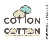 cotton labels or logo for pure... | Shutterstock .eps vector #755273476