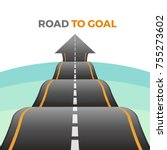 road to goal abstract way from... | Shutterstock .eps vector #755273602