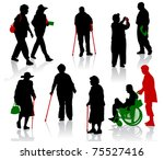 silhouette of old and disabled... | Shutterstock .eps vector #75527416