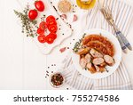 baked homemade sausage on a... | Shutterstock . vector #755274586