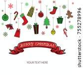 merry christmas invitation card.... | Shutterstock .eps vector #755278996