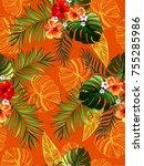 seamless tropical vector... | Shutterstock .eps vector #755285986