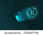 bitcoin symbol and binary code... | Shutterstock .eps vector #755287756
