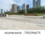 modern building and empty... | Shutterstock . vector #755296675
