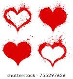 vector red  splashing heart... | Shutterstock .eps vector #755297626
