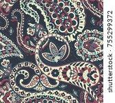 paisley floral oriental ethnic...   Shutterstock .eps vector #755299372