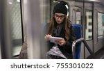 young woman using digital... | Shutterstock . vector #755301022
