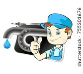 plumber and water faucet symbol ... | Shutterstock .eps vector #755301676