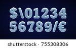 blue snowy alphabet  winter... | Shutterstock .eps vector #755308306