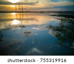 view of wide meadows after... | Shutterstock . vector #755319916