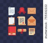 pixel art icon set. letter ... | Shutterstock .eps vector #755332222
