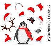 mascot creation kit of penguin... | Shutterstock .eps vector #755333476