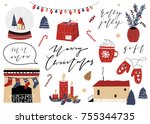 merry christmas happy new year... | Shutterstock .eps vector #755344735