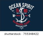 t shirt graphic print nautical... | Shutterstock .eps vector #755348422