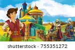 cartoon scene with prince or... | Shutterstock . vector #755351272