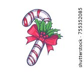 candy cane with bow knot hand... | Shutterstock .eps vector #755352085