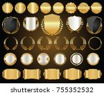 golden shields laurel wreaths... | Shutterstock .eps vector #755352532