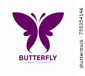 abstract butterfly logo... | Shutterstock .eps vector #755354146