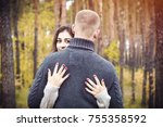 the concept of love. a pair of... | Shutterstock . vector #755358592