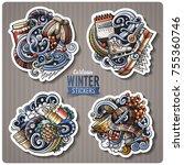 set of winter season cartoon... | Shutterstock .eps vector #755360746