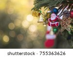 decorated christmas tree on... | Shutterstock . vector #755363626