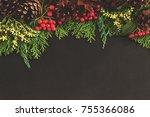 christmas  new year black... | Shutterstock . vector #755366086